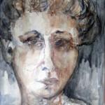 אישה עצובה עם אף ארוך